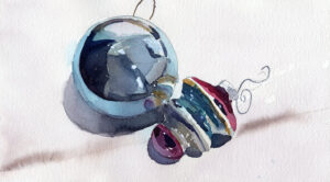 holiday ornaments in watercolor