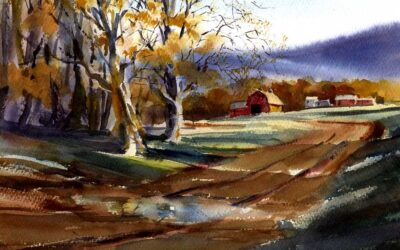 """""""Bend In The Road"""" – watercolor landscape painting with farm and fields"""