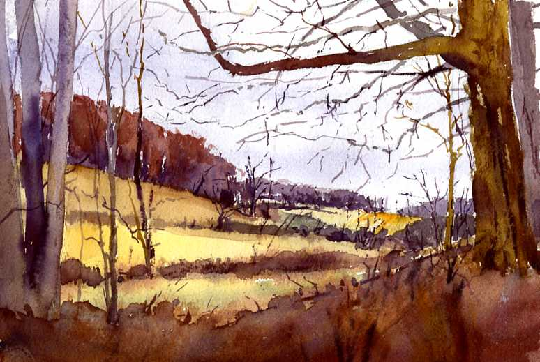 """""""Early Spring, McCullough Road"""" – en plein air watercolor landscape painting"""