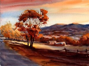 Fading Glory - watercolor landscape painting of fall by Tony Conner