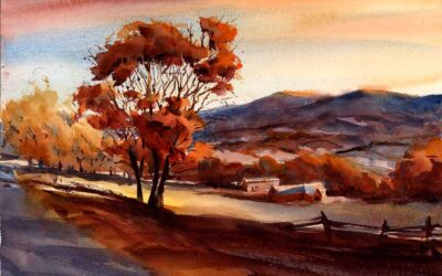 """""""Fading Glory"""" – original watercolor landscape painting of fall in Vermont"""